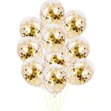 White Confetti Balloon With Gold Sequins -Set of 10