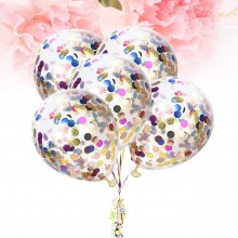 White Confetti Balloon With Mutli-Colourful Sequins -Set of 10