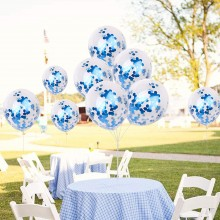 White Confetti Balloon With Blue Sequins -Set of 25