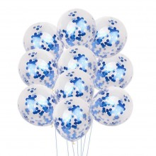 White Confetti Balloon With Blue Sequins -Set of 10