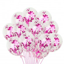 White Confetti Balloon With Pink Sequins -Set of 25
