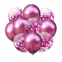 Pink Chrome Balloon with Pink Confetti Balloon Set