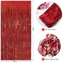 Red Foil Curtain (Set of 2)