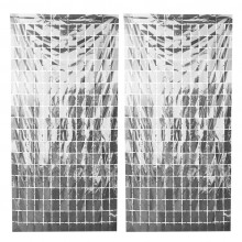 Square Foil Curtain (Silver, Set of 2)