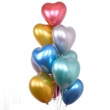 Heart Shape Chrome Balloon-30 Pcs (Mixed Color)