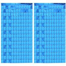Square Foil Curtain (Blue, Set of 2)