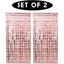 Square Foil Curtain (Rose Gold, Set of 2)