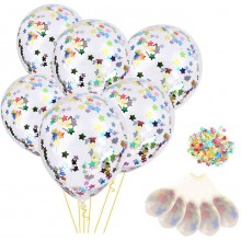 Confetti Balloon With Mutli-Colour Star Sequins -Set of 30