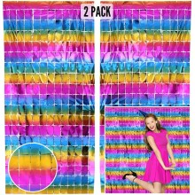 Square Foil Curtain (Rainbow, Set of 2)
