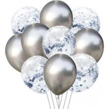 Silver Metallic Balloon with Silver Confetti Balloon Set