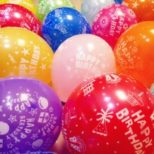 Printed Happy Birthday Balloon- Set of 12