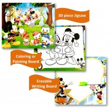 Gift Wrapped - 3 in 1 Writing, Puzzle & Colouring Board - Mickey