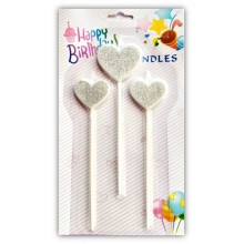 Silver Heart Candle Set of 3