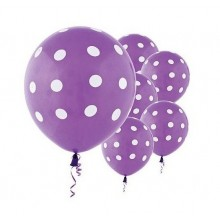 24 Purple-colour Large Polka Balloons
