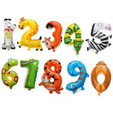 Animal Number Foil Balloon - Baby Milestone