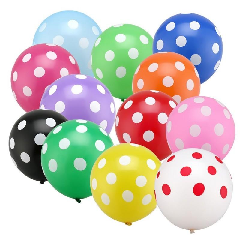24 Multi-colour Large Polka Balloons