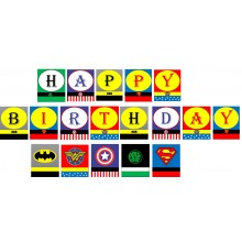 Super Hero Avenger Theme Birthday Banner
