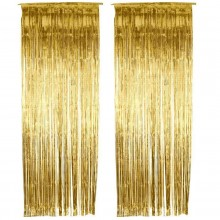 Golden Foil Curtain (Set of 2) 3 X 6 Feet
