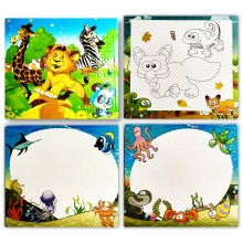 Animal Puzzle + Painting + Writing Board