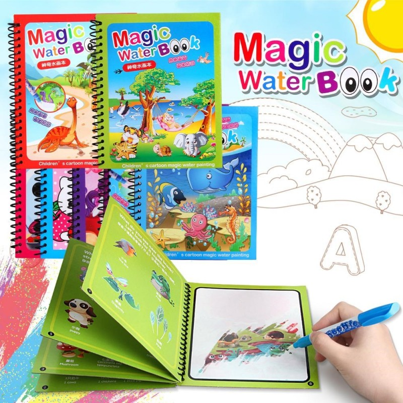 Dino and Aqua Theme Unlimited Fun with Drawing for Kids Animal 3 Books Birthday Popper Magic Water Coloring Book Reusable Water-Reveal Activity Pad, Chunky-Size Water Pen