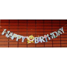Baby Shark Happy Birthday Banner Yellow