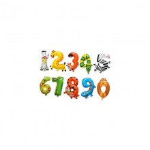 Animal Number Foil Balloon 0 - 12 Months