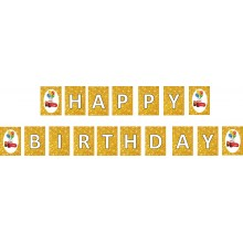 Car Golden Happy Birthday Banner