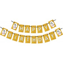 Unicorn Golden Happy Birthday Banner