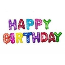 Happy Birthday Polka Foil Balloon Banner (Multi Colour)