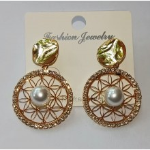 Fancy Earrings - Royal Gold with Pearl