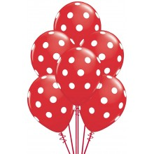 24 Red-colour Large Polka Balloons