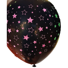 Black Stars Printed  Latex Balloons (20 pieces)