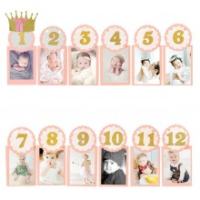 Pink Crown Banner with Baby Photo