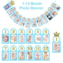 Blue Crown Banner with Baby Photo