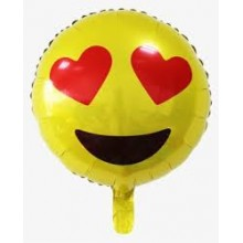 Smiley Emoji Foil Balloon - Hearts