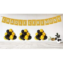 Cradle Ceremony Golden Theme Party Decoration Set