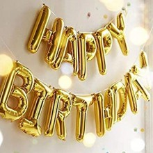 Happy Birthday Foil Balloon - Golden Letters