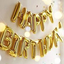 Happy Birthday Foil Banner-Golden
