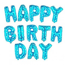 Happy Birthday Foil Balloon - Sky  Blue Polka Letters