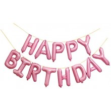 Happy Birthday Foil Balloon - Pink Letters