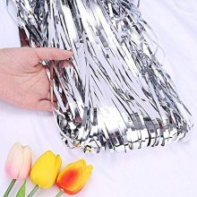 Silver Foil Curtain (Set of 2) 3 X 6 Feet
