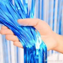 Blue Foil Curtain (Set of 2) 3 X 6 Feet