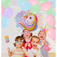 Unicorn Backdrop, Balloons & Photo props