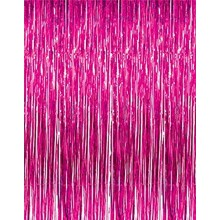 Pink Foil Curtain (Set of 2) 3 X 6 Feet