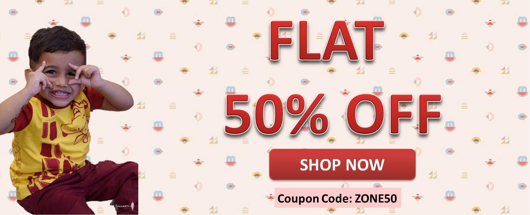 Flat 50% off on Selected Products